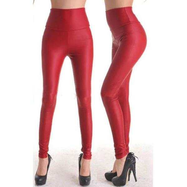 Punaiset keinonahka leggingsit - Fashion Red Faux Leather Leggings - Hot Avenue sho