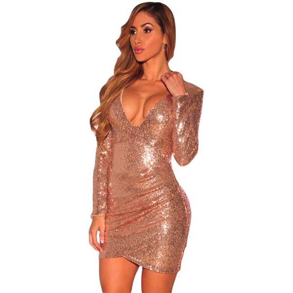 Samppanjan värinen paljettimekko - Champagne Ruched Sequin Long Sleeve Nightclub Dress - Hot Avenue shop