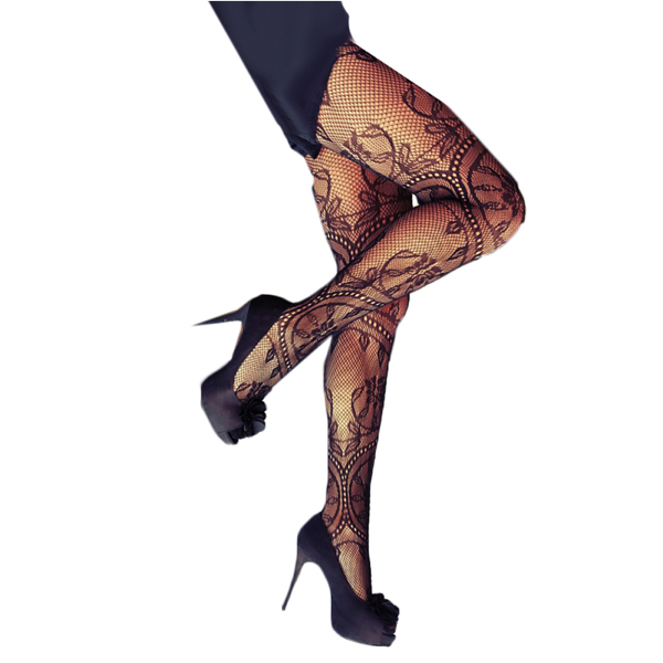 Seksikkäät Verkkosukkahousut - Sexy Charming Floral Pattern Fishnet Pantyhose pic 2 - Hot Avenue Shop