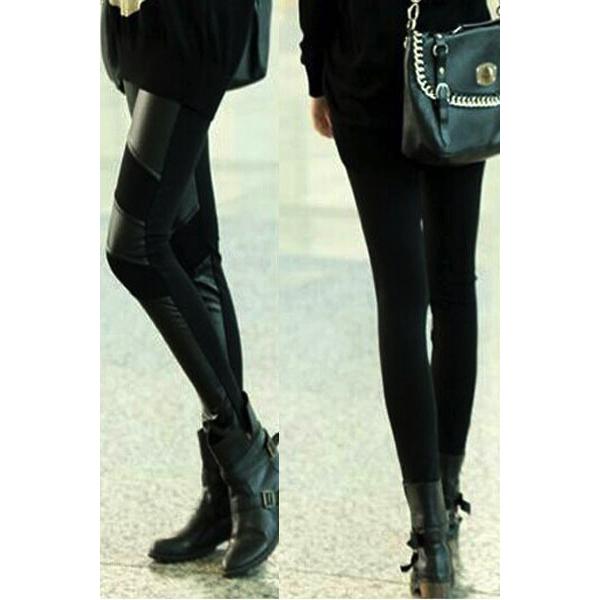 Tyylikkäät Keinonahka Legginsit - Stylish PU Patchwork Stretch Black Leggings 2 pic-Hot Avenue Shop