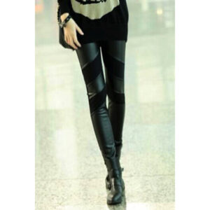 Tyylikkäät Keinonahka Legginsit - Stylish PU Patchwork Stretch Black Leggings-Hot Avenue Shop