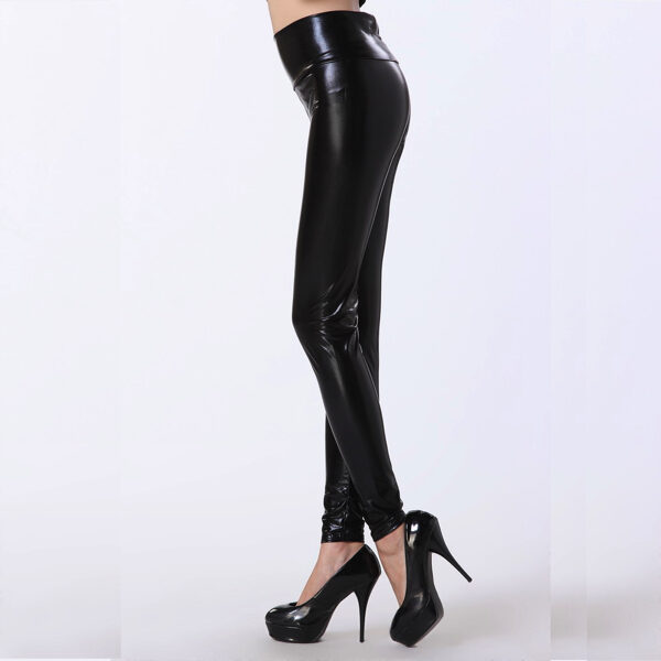 Nahkalegginsit Wetlook Mustat Korkea vyötärö Legginsit - Black High Waist Leggings - Hot Avenue shop