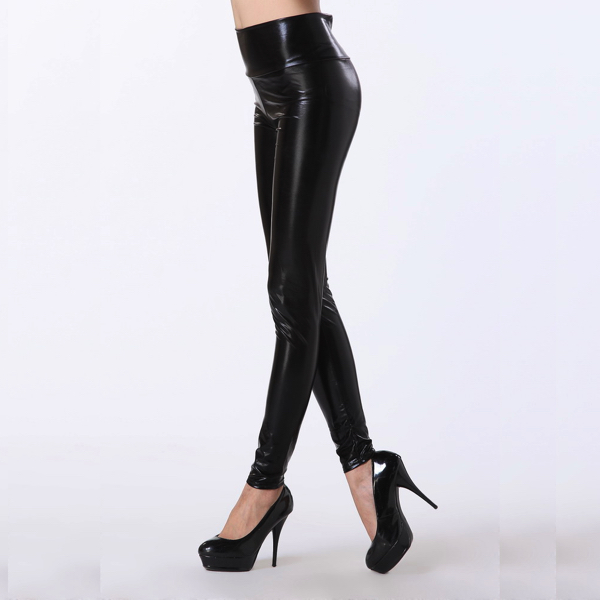 Wetlook Mustat Korkea vyötärö Leggingsit - Black High Waist Leggings pic 2 - Hot Avenue shop nahkalegginsit