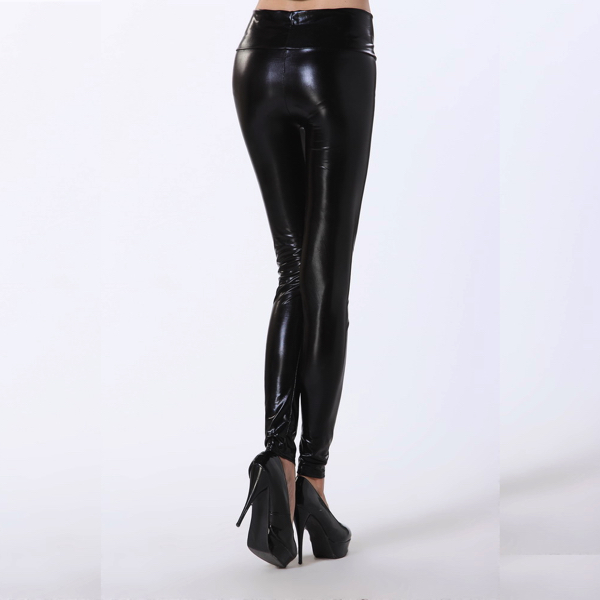 Wetlook Mustat Korkea vyötärö Leggingsit - Black High Waist Leggings pic 3 - Hot Avenue shop Nahka legginsit