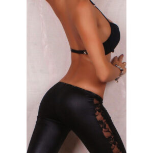 Wetlook mustat leggingsit pitsikoristeella - Sexy Legging Pants Wet Look Black - Hot Avenue shop