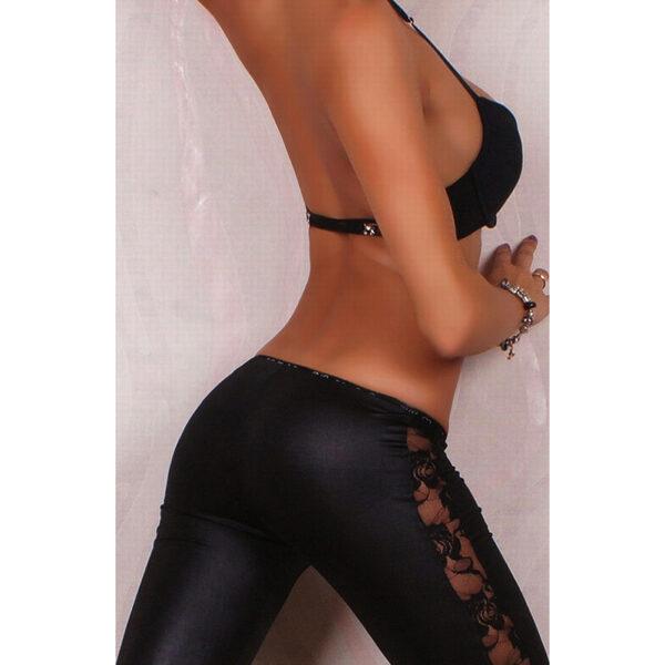 Wetlook mustat leggingsit pitsikoristeella - Sexy Legging Pants Wet Look Black - Hot Avenue shop
