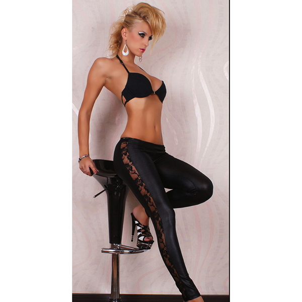 Wetlook mustat leggingsit pitsikoristeella - Sexy Legging Pants Wet Look Black pic 3 - Hot Avenue shop