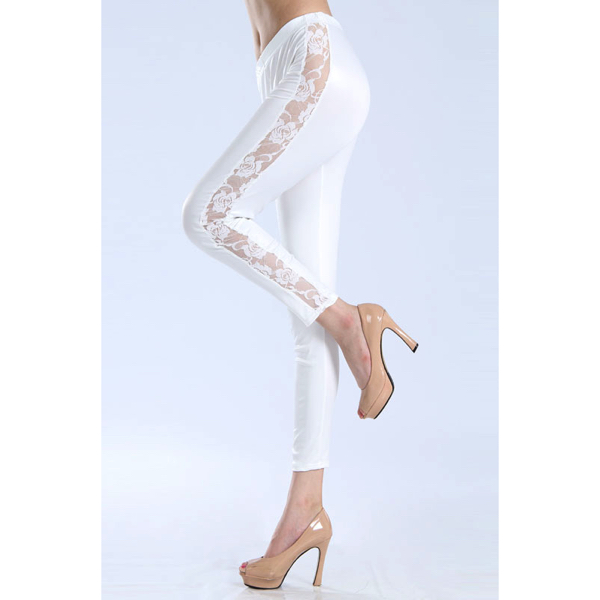Wetlook valkoiset leggingsit pitsikoristeella - Sexy Legging Pants Wet Look White - Hot Avenue shop