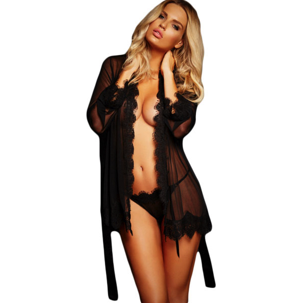 Pitsireunuskaapu - Black Lace Trim Robe with - Thong - Hot Avenue shop