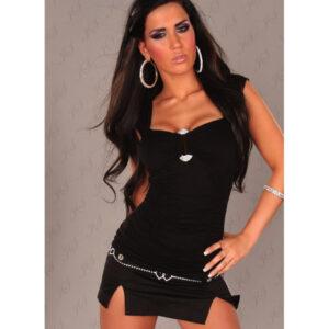 Toppi kimaltelevalla soljella musta - Sexy Winner Top With Rhinestione Buckle in Optic Black - Hot Avenue shop