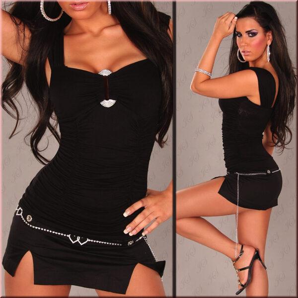 Toppi kimaltelevalla soljella musta - Sexy Winner Top With Rhinestione Buckle in Optic Black pic 3 - Hot Avenue shop