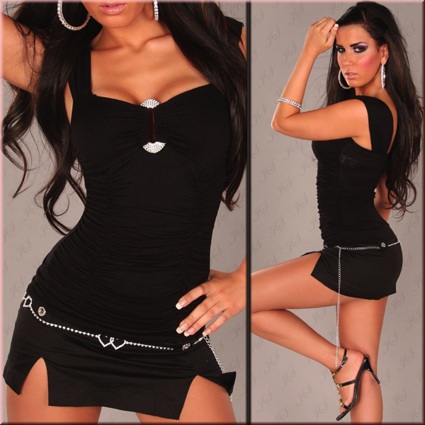 Toppi kimaltelevalla soljella musta - Sexy Winner Top With Rhinestione Buckle in Optic Black pic 3 - Hot Avenue shop