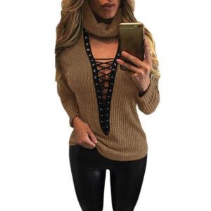 Aprikoosi villapaita - Apricot Turtleneck Lace Up Grommet Sweater - Hot Avenue shop