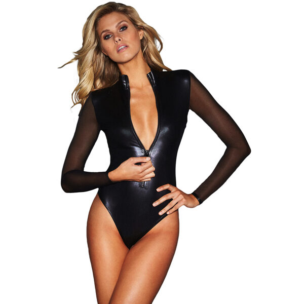 Musta pitkähihainen Nahka Body - Black Mesh Long Sleeve Zip Front Leather Bodysuit - Hot Avenue shop