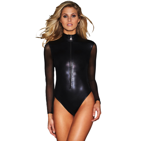 Musta pitkähihainen Nahka Body - Black Mesh Long Sleeve Zip Front Leather Bodysuit pic 2 - Hot Avenue shop