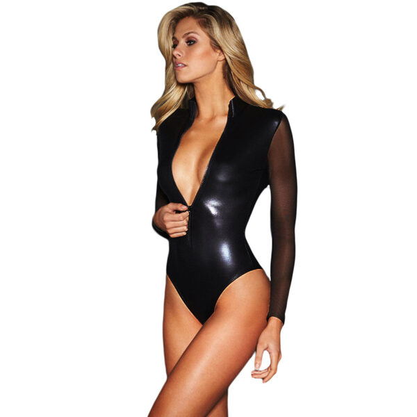 Musta pitkähihainen Nahka Body - Black Mesh Long Sleeve Zip Front Leather Bodysuit pic 3 - Hot Avenue shop