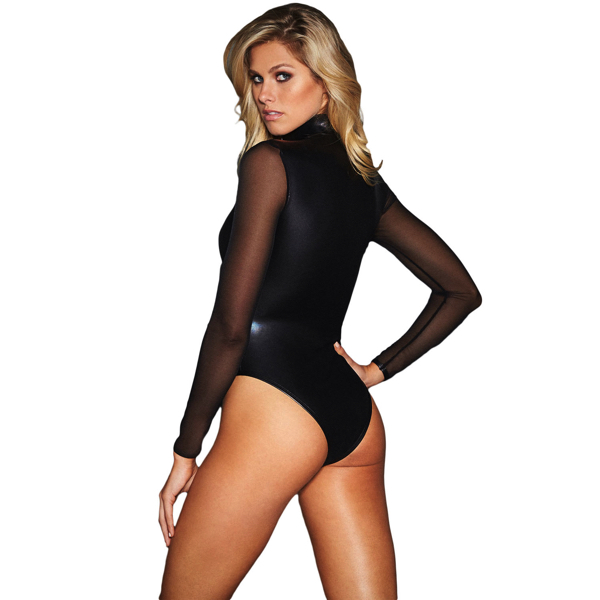 Musta pitkähihainen Nahka Body - Black Mesh Long Sleeve Zip Front Leather Bodysuit pic 4 - Hot Avenue shop