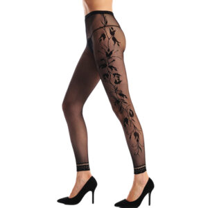 Mustat fishnet sukkahousut - Black Fishnet Floral Opaque Footless Tights Pantyhose - Hot Avenue shop