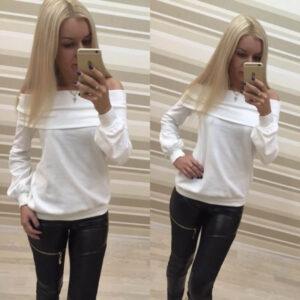 Elegantti valkoinen toppi - Elegant Pure White Off shoulder Casual Tops - Hot Avenue shop