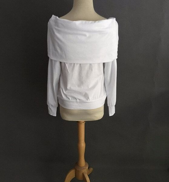 Elegantti valkoinen toppi - Elegant Pure White Off shoulder Casual Tops - Hot Avenue shop 4