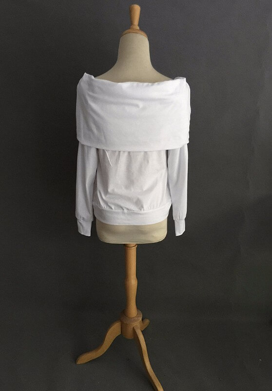 Elegantti valkoinen toppi - Elegant Pure White Off shoulder Casual Tops - Hot Avenue shop 4
