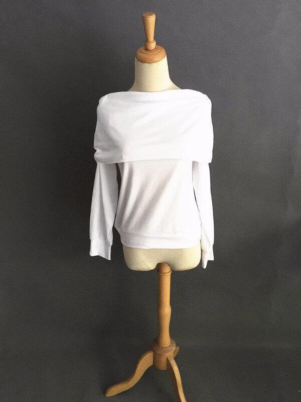Elegantti valkoinen toppi - Elegant Pure White Off shoulder Casual Tops - Hot Avenue shop pic 2