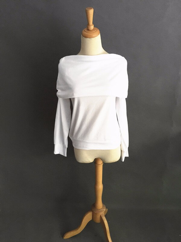 Elegantti valkoinen toppi - Elegant Pure White Off shoulder Casual Tops - Hot Avenue shop pic 2