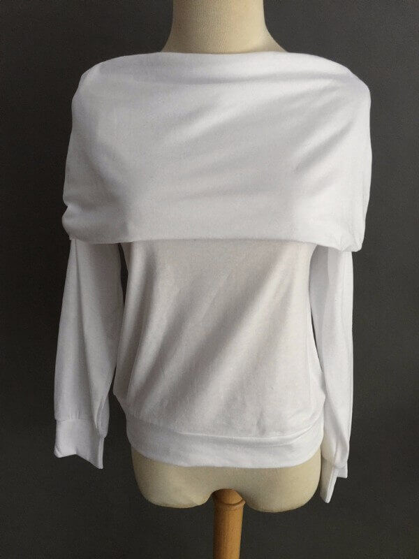 Elegantti valkoinen toppi - Elegant Pure White Off shoulder Casual Tops - Hot Avenue shop pic 3