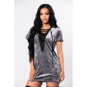 Hopean harmaa nyöripaita - Lace-up Neck Gray Velvet Short Sleeve Top - Hot Avenue shop