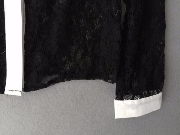 Musta pitsinen kauluspaita - Fashion Lace Hollow Out Turn down Collar Tops pic 2-Hot Avenue shop
