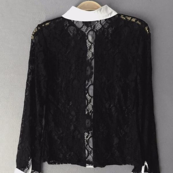 Musta pitsinen kauluspaita - Fashion Lace Hollow Out Turn down Collar Tops pic 3-Hot Avenue shop