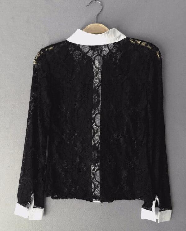 Musta pitsinen kauluspaita - Fashion Lace Hollow Out Turn down Collar Tops pic 3-Hot Avenue shop