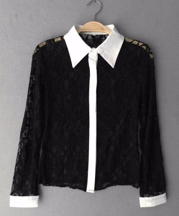 Musta pitsinen kauluspaita - Fashion Lace Hollow Out Turn down Collar Tops pic 4-Hot Avenue shop
