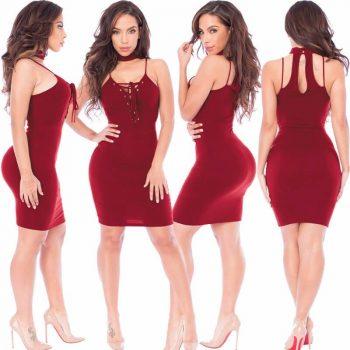 Punainen mekko - Sexy-Lace-Up-Slim-Fit-Bodycon-Dress - Hot Avenue shop
