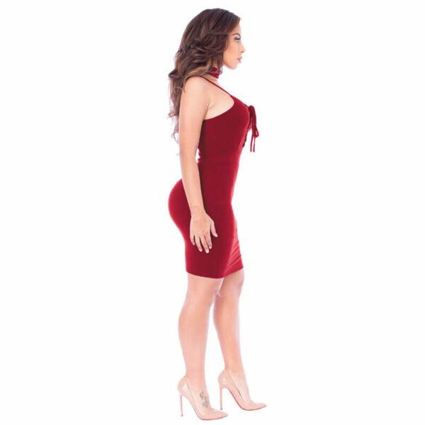 Punainen mekko - Sexy-Lace-Up-Slim-Fit-Bodycon-Dress - Hot Avenue shop pic 4